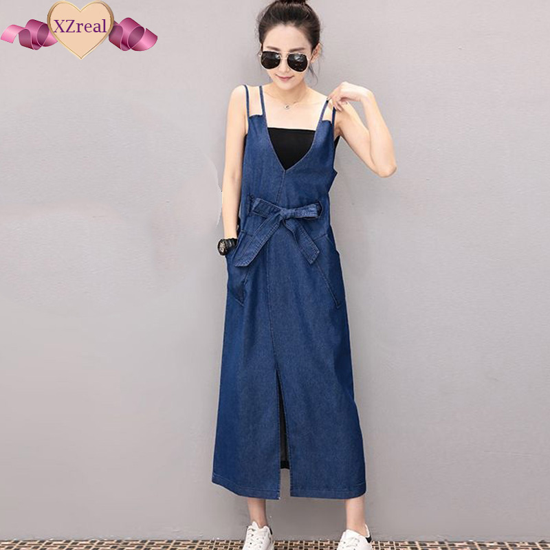 Denim Sundress Long Jeans Dress Denim Clothing Women Blue Tank Slit Midi Dress With Belt Bandage Summer Dresses vestido jeans
