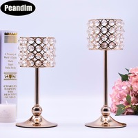 PEANDIM Home Dinner Table Center Centerpieces K9 Crystal Candle Holders Set Gold Candle Lantern Candlestick For Valentine's Day