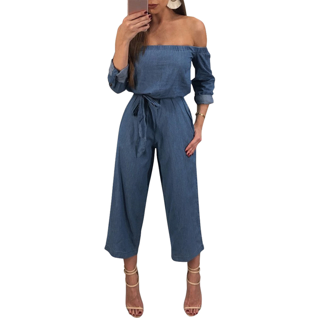 f8f3a043e0a Sexy Women Denim Jumpsuit Off Shoulder Rompers Belted Wide Leg Pants Long  Trousers Overalls Ladies Bodysuit