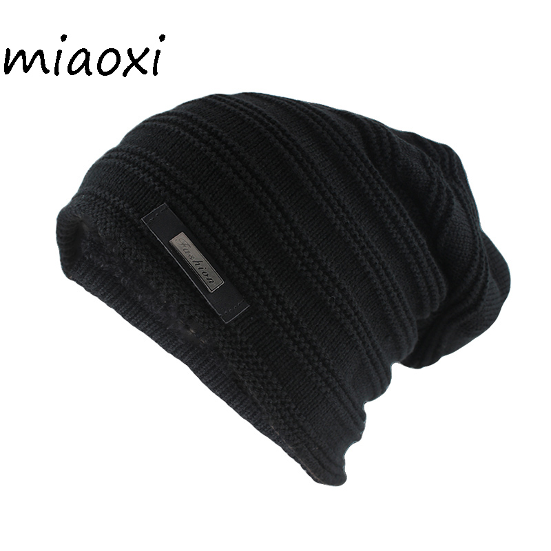 Miaoxi Hip Hop Fashion Men Winter Hat For Women Striped Casual Beanies Skullies Female Wool Knit Hats Gorras