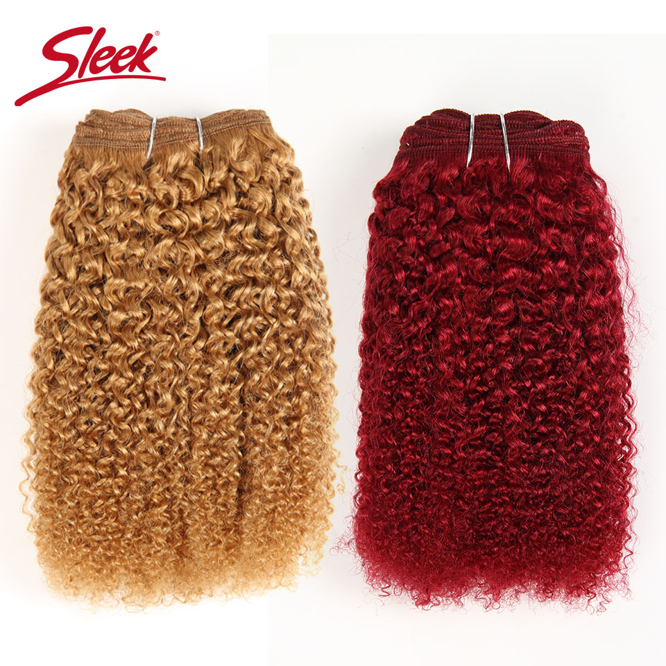 Sleek Afro Kinky Weave Curly Hair 1 Piece Ombre Mongolian Human Hair Weave Bundles Deal #27 #30 1B# Red# Remy Hair Extension