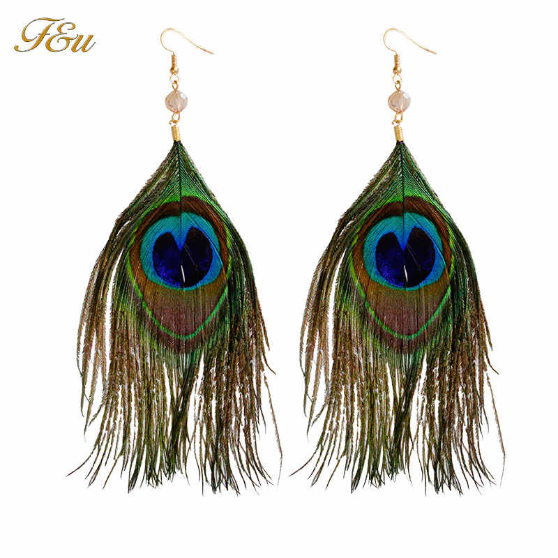 F & U Lễ Hội Carnival Peacock Dangle Earrings Vàng Màu Bohemia Phong Cách Feather Dangle Earrings