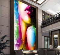 Foto personalizzata 3d carta da parati Non tessuto murale wall sticker 3 d Sexy belle colorate disegno o patternpainting soggiorno decorazione