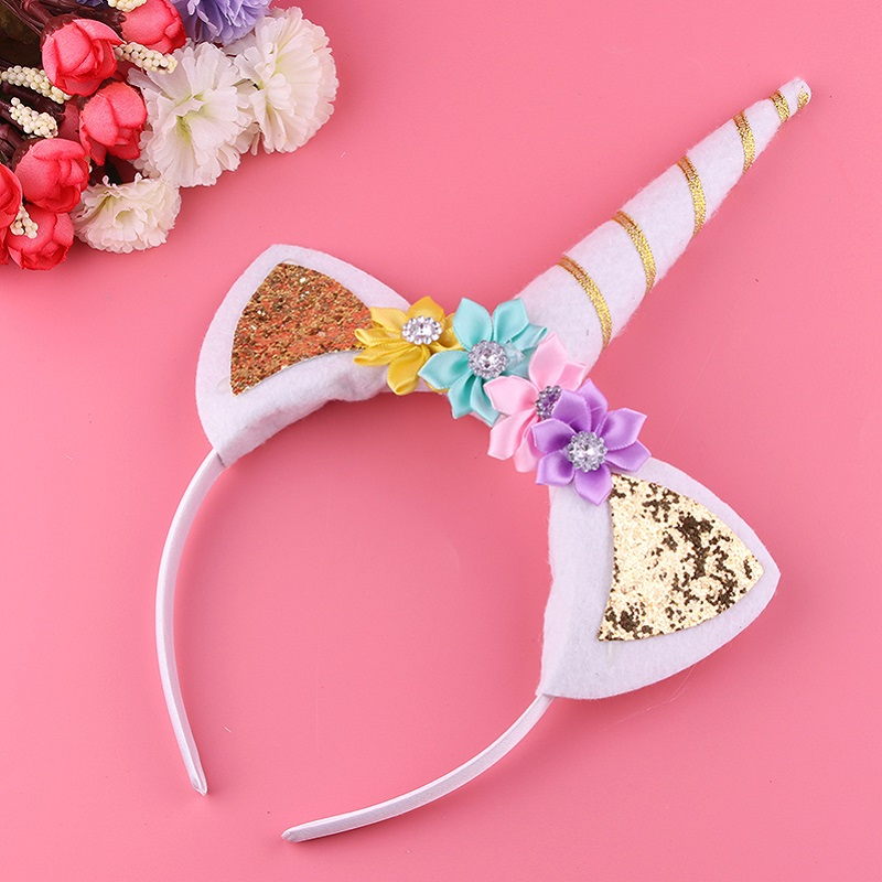 Hair Care & Styling 2019 Fashion 1pc Headband Glitter Unicorn Horn With Chiffon Flowers Hair Hoop Party Hair Styling Tool Braiders For Kids 6 Colors Choice Materials