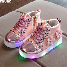 New Spring/Autumn Lace-Up Casual Kids Shoes Girls Lighted Li