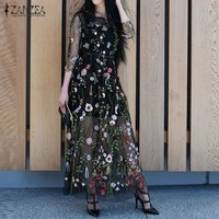 Vestidos 2017 Summer ZANZEA Women Maxi Long Dress Sexy Vintage Embroidery Floral Mesh Patchwork Casual Loose
