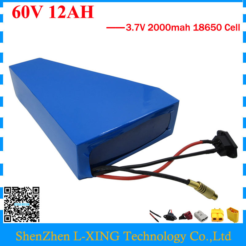 Free customs fee 60V 12AH triangle battery 60V electric bike battery 12AH use 3.7V 2000mah cell 15A BMS 2A Charger free customs fee 1000w 36v 17 5ah battery pack 36 v lithium ion battery 18ah use samsung 3500mah cell 30a bms with 2a charger