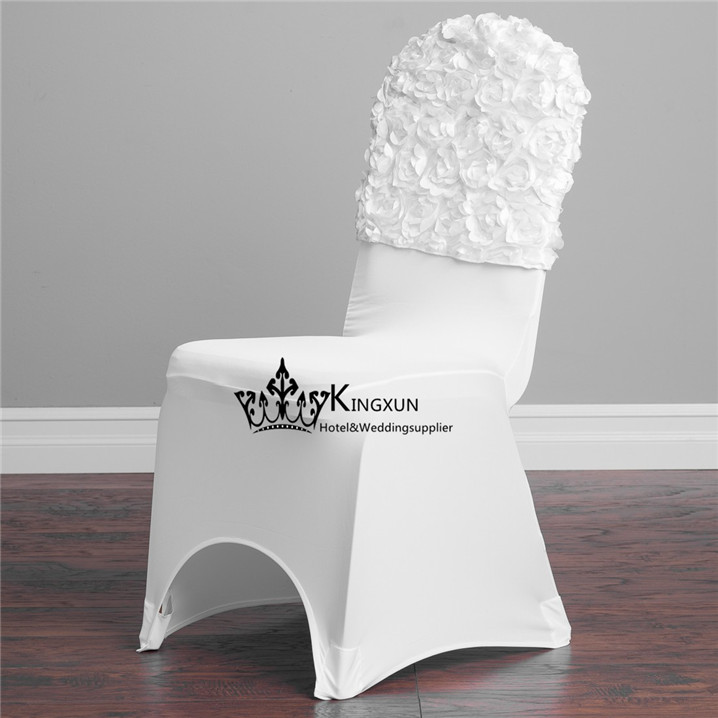 New Design White Color 3D Satin Rosette Chair Cap  Chair Hood Used For Spandex Chair Cover