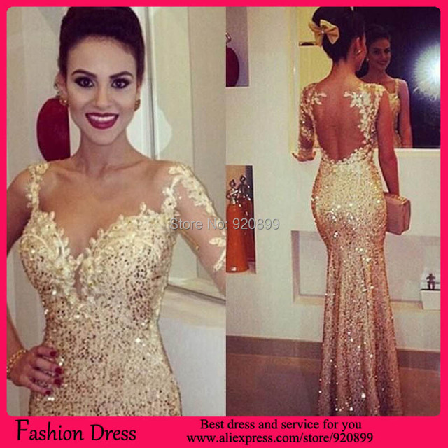 Hot Beautiful Long Sleeve Prom Dresses Gold Sequins Dress See Through Back