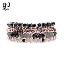 BOJIU 5 Pcs/Set Trendy Crystal Bracelets Women Silver Gold Rose Black Gray Beads Hematite Female BCSET236