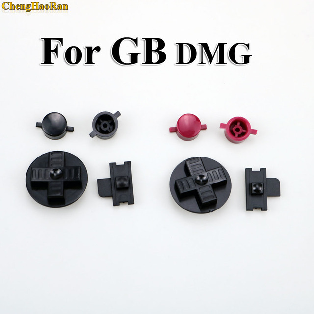 ChengHaoRan 1set Black RED Customs DIY Buttons Set Replacement for Gameboy Classic for GB DMG A B buttons D pad Button