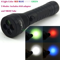 2000LM 5 Modes White Red Blue And Green LED Flashlight Black 18650 3 AAA Not Included