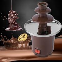 EU Portable Household Mini Chocolate Fountain Fondue Homemade Electric Chocolate Melting Tower Three Layer Waterfall Machine