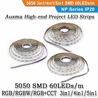 Auxma 5050 RGB/RGBW/RGBCCT 5in1 CRI80 60LEDs/m IP20 DC12V/24V 300LEDs/Reel,5meter/Reel Indoor NON Waterproof LED Strip for Party