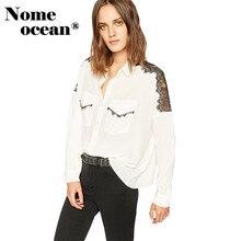 5aa1feefd2 Lace Patchwork Shoulder Women's Shirts Flap Pockets Long Sleeve Blouses  Elegant Women's Chiffon Blouses OL Shirt
