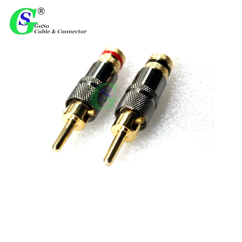 2 PCS High Quality 24K Gold Plated Audio Banana Speaker Plug Sawtooth Screw Cable & Wire Diy Adapter