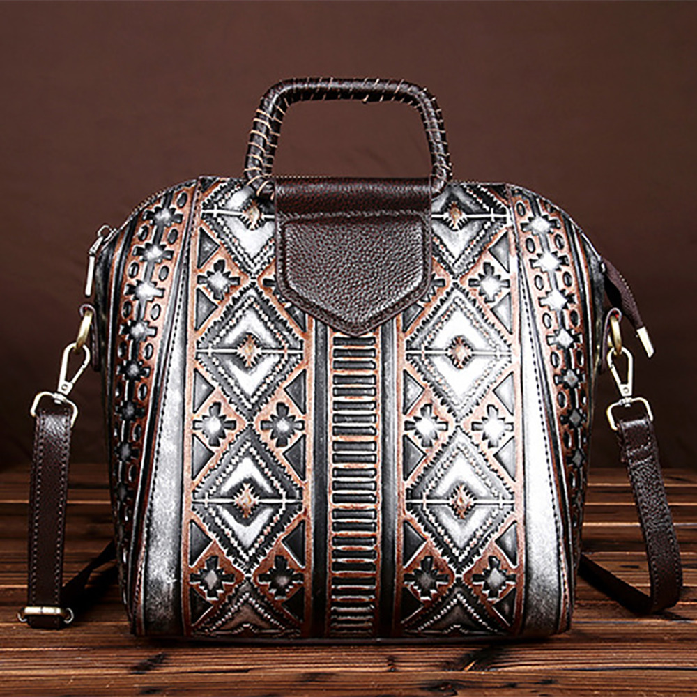 New Women Lady Genuine Leather Tote Handbag Vintage Embossed Crossbody Shoulder Bag High Quality Casual Female Messenger Bags women vintage composite bag genuine leather handbag luxury brand women bag casual tote bags high quality shoulder bag new c325