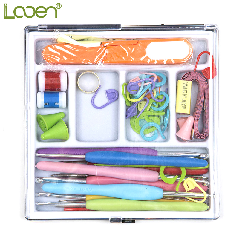 61 Pcs/Set Looen Mix Sizes Crochet hooks Needles Stitches knitting Craft Case Set in Yarns Hooks For Women
