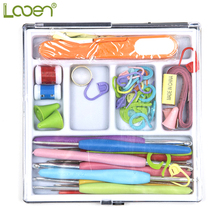 61 Pcs/Set Looen Mix Sizes Crochet hooks Needles Stitches knitting Craft Case Crochet Set in Case Yarns Crochet Hooks For Women inverse creep in textile yarns