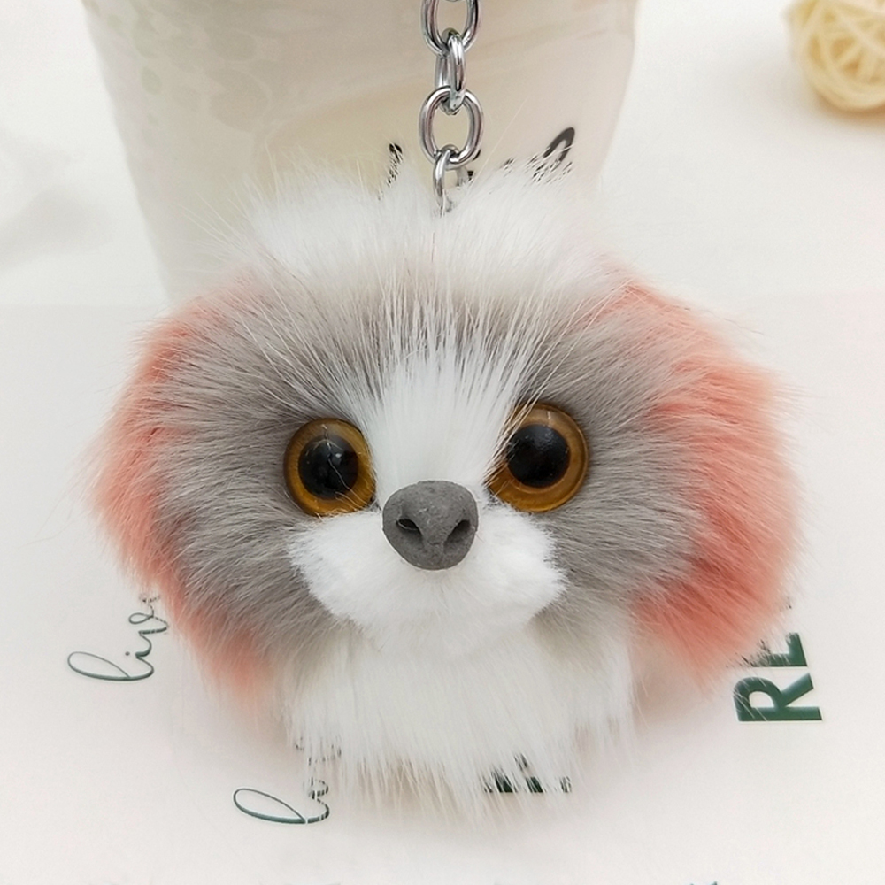 все цены на Lovely Pompom Poodle Dog Keychains Bag Pendant Fluffy Keyring Pet Puppy Key Chain For Car Key Ring Women Faux Rabbit Fur Jewelry