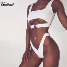 Ucatheall Summer Deep V Bandage Sexy Bodysuit Solid Color Backless Fitness Tight