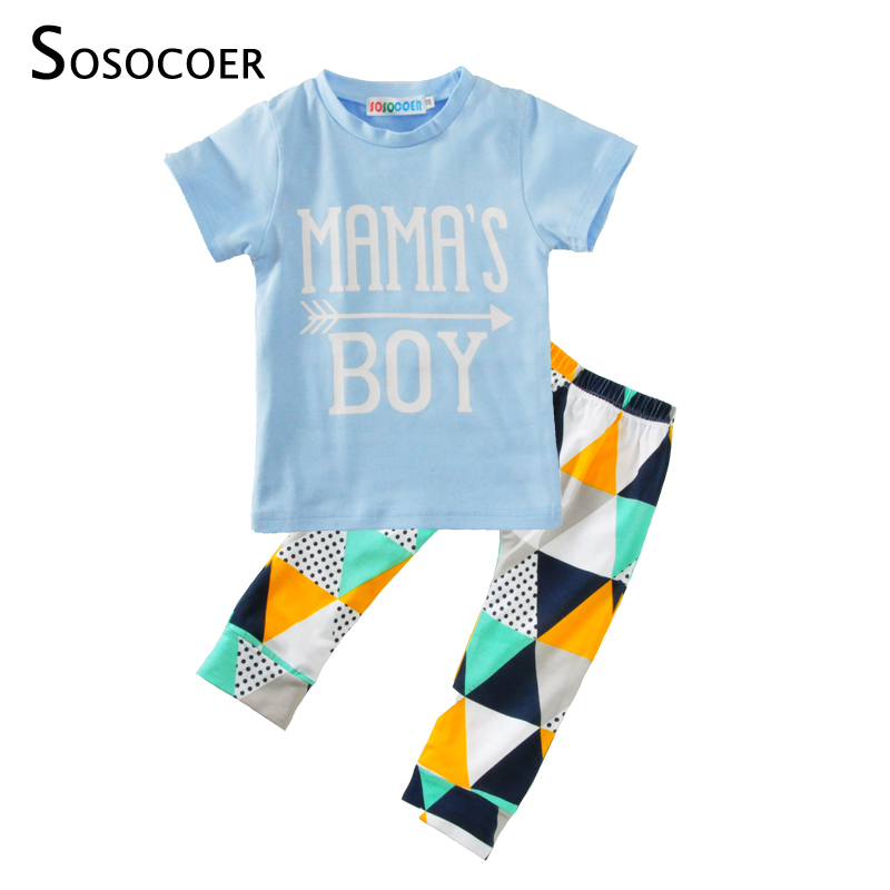 SOSOCOER Boys Clothing Set 2pcs Mamas Boy T-shirt+Geometry Pants Baby Clothes Outfit 2017 Summer Arrow Kids Clothing Sets 6-24M