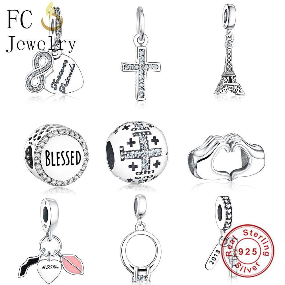 FC Jewelry Fit Original Pandora Charm Bracelet 925 Silver Cross Letter Blessed Hand Pink Heart Love Bead for Making DIY Berloque