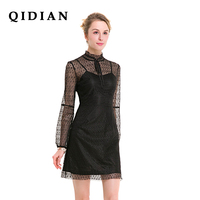 QI DIAN 2018 Original Design Spring New Women S Perspective Lace Fake Two Piece Dress Lace