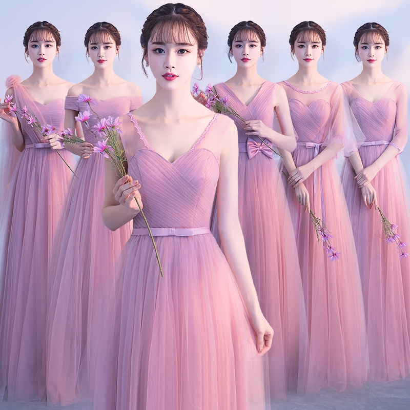 Elegant Dark Pink Lace   Bridesmaid     Dresses   2019 Long for Women Formal Wedding Party Homecoming Prom   Dresses   robe de soiree