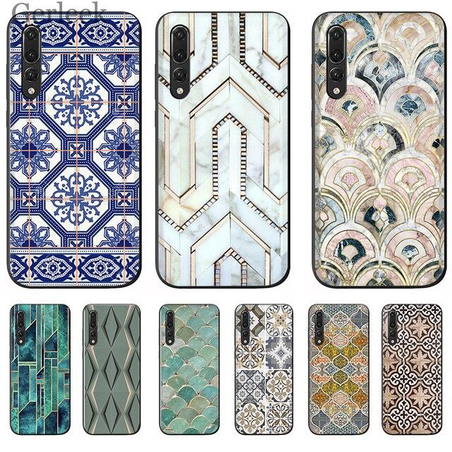 Hộp Điện Thoại di động Maroc Nghệ Thuật Ngói Bản Đồ Kim Cương Cân Cho Huawei P Thông Minh P30 P8 P9 P10 P20 Lite pro
