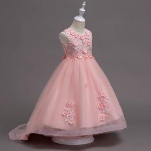 Image 3 - Rosa menina dama de honra casamento romântico vestido de festa elegante menina vestir se para participar da bola a refeição sagrada a cauda applique
