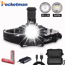 30000LM headlight XHP50 LED Headlamp XP-L-V6 Head Lamp Fishing lighting bicycle Light Flashlight Torch Lantern For Camping light(China)