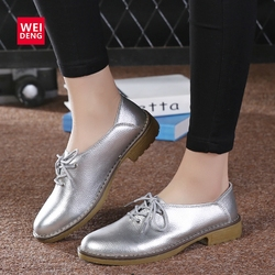 WeiDeng Genuine Leather Women Flats Casual Shoes Lace Up Leisure Moccasins Sapatos Femininos Fashion Sapatilhas Gold Silver
