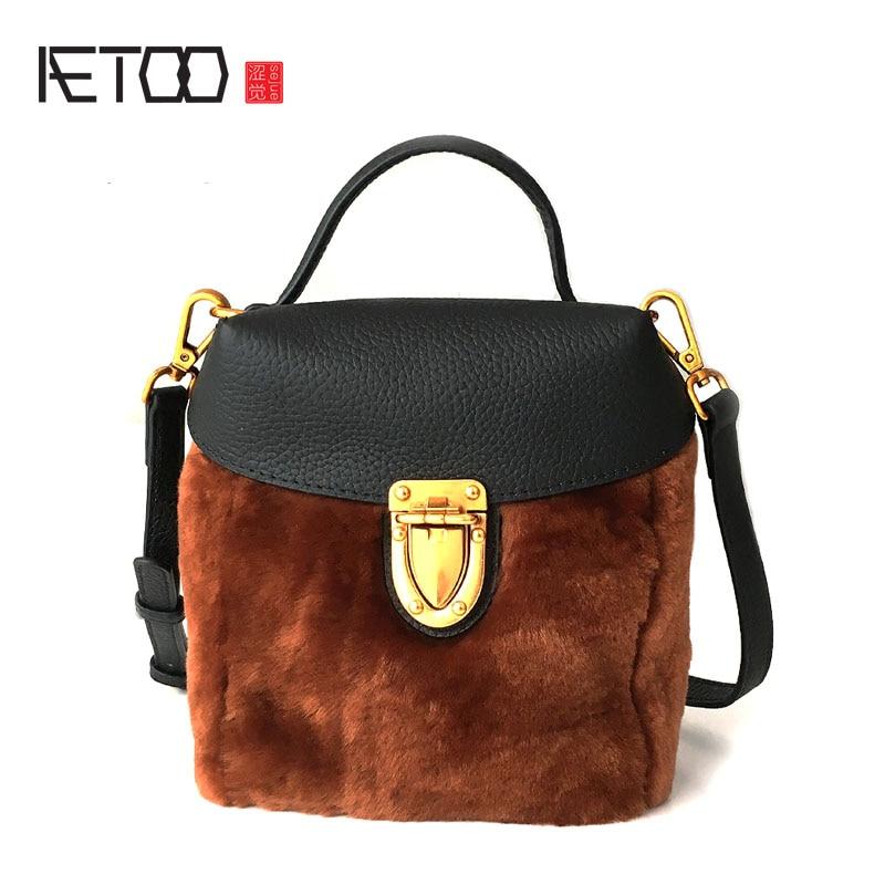 купить AETOO New leather with wool tide buckle small square bag Korean shoulder diagonal fur package недорого