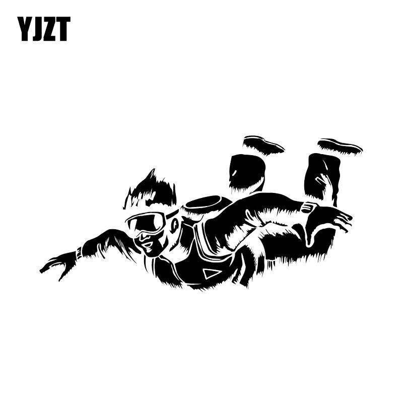 YJZT 18.5*8.9CM Skydiving Parachuting Decor Car Sticker  Silhouette Vinyl Graphic C12-0734