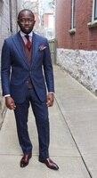 2018 последние конструкции пальто брюки Темно синие Для мужчин Костюмы тонкий fitcustom жениха Пром Блейзер Best человек 2 шт. смокинг Для мужчин TERNO