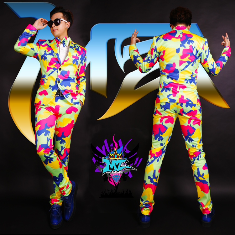 S-4XL! 2019 Men fashion Club male singer DJ GD runway looks Europe America glamorous color camouflage suit costumes formal dress