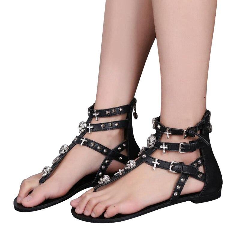 MCCKLE Woman Fashion Thong Sandals Rhinestone Crosses Skull Rome Buckle Women Flats For Ladies Rivets Zip Female Shoes J3918