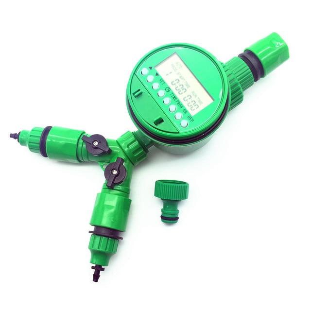 1 set (5 Pcs) automático de Rega irrigação timer digital Conector Y 3/4 threadquick conector Externo para 4/7 ou 8/11mm mangueira