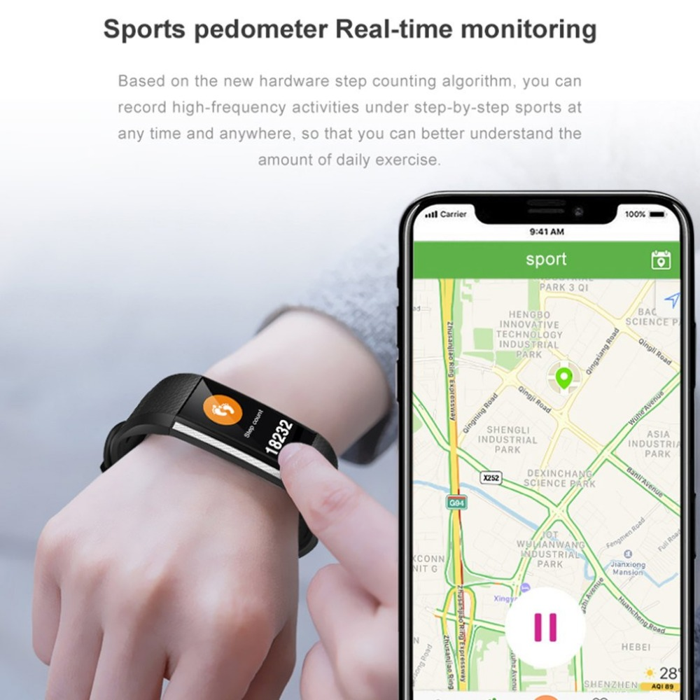 New Screen Smart Step Counter Sports Heart Rate/Blood Pressure Monitor Waterproof Fitness Tracker Device Pedometer