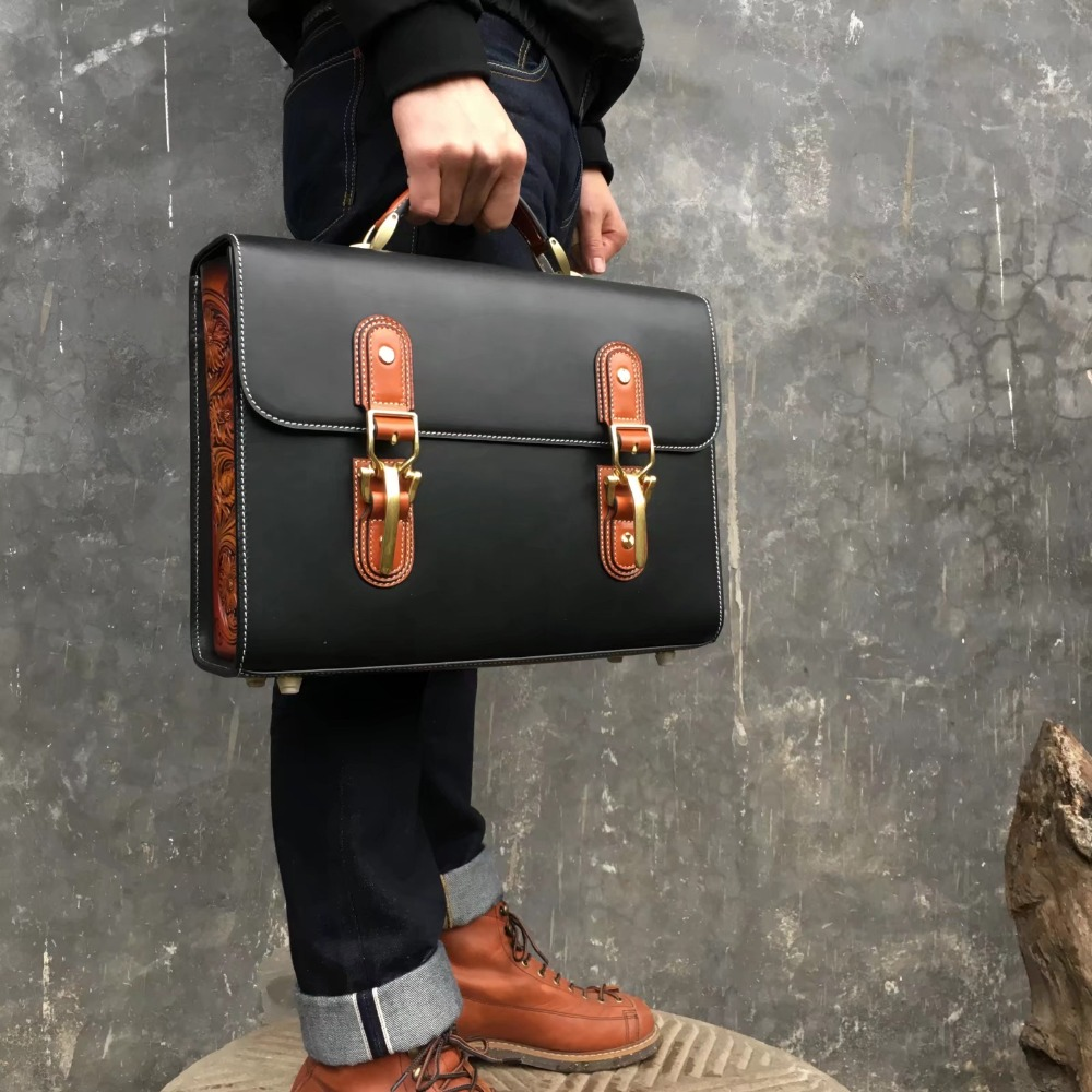 Handmade Arabesque Pattern Commercial Leather Vintage Bag Men Business Bag High Quality Briefcase Message Bag Handbag HH-1