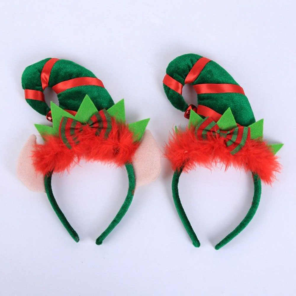 New Hot Christmas Elf Santa Plush Hat Headband Xmas Hot Women Kids Home Party Hair Decoration Headband Accessories