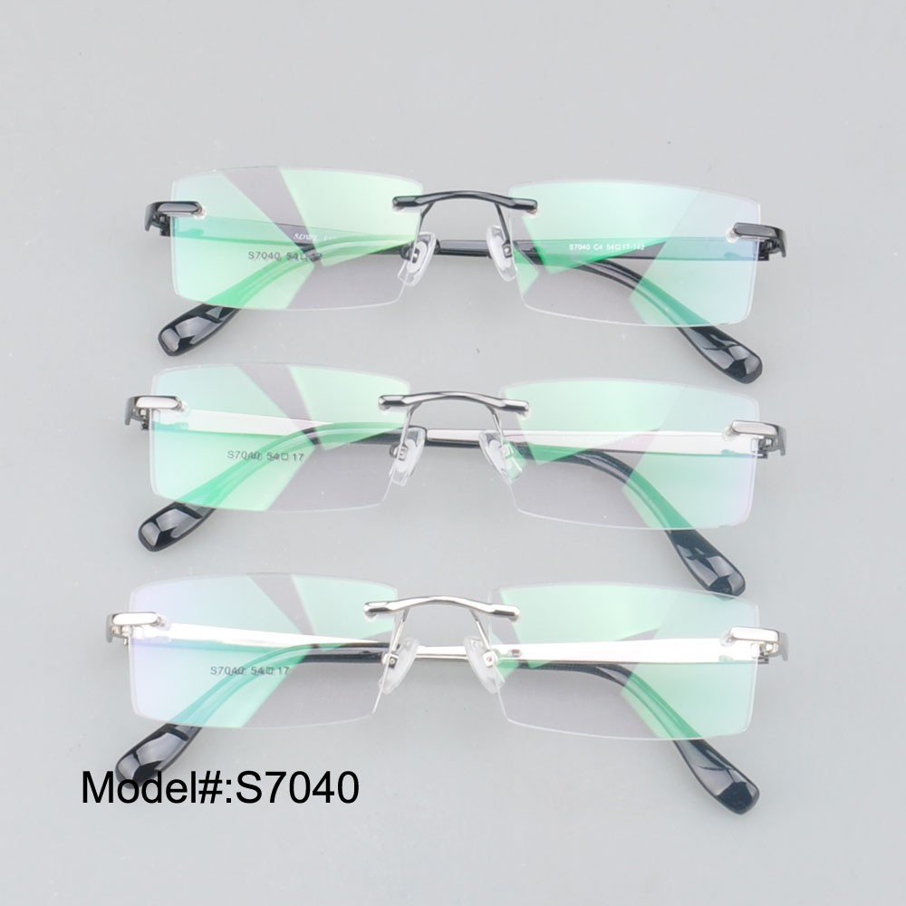 2347893ed96 S7040 brand new low price rimless stainless steel men style myopia ...