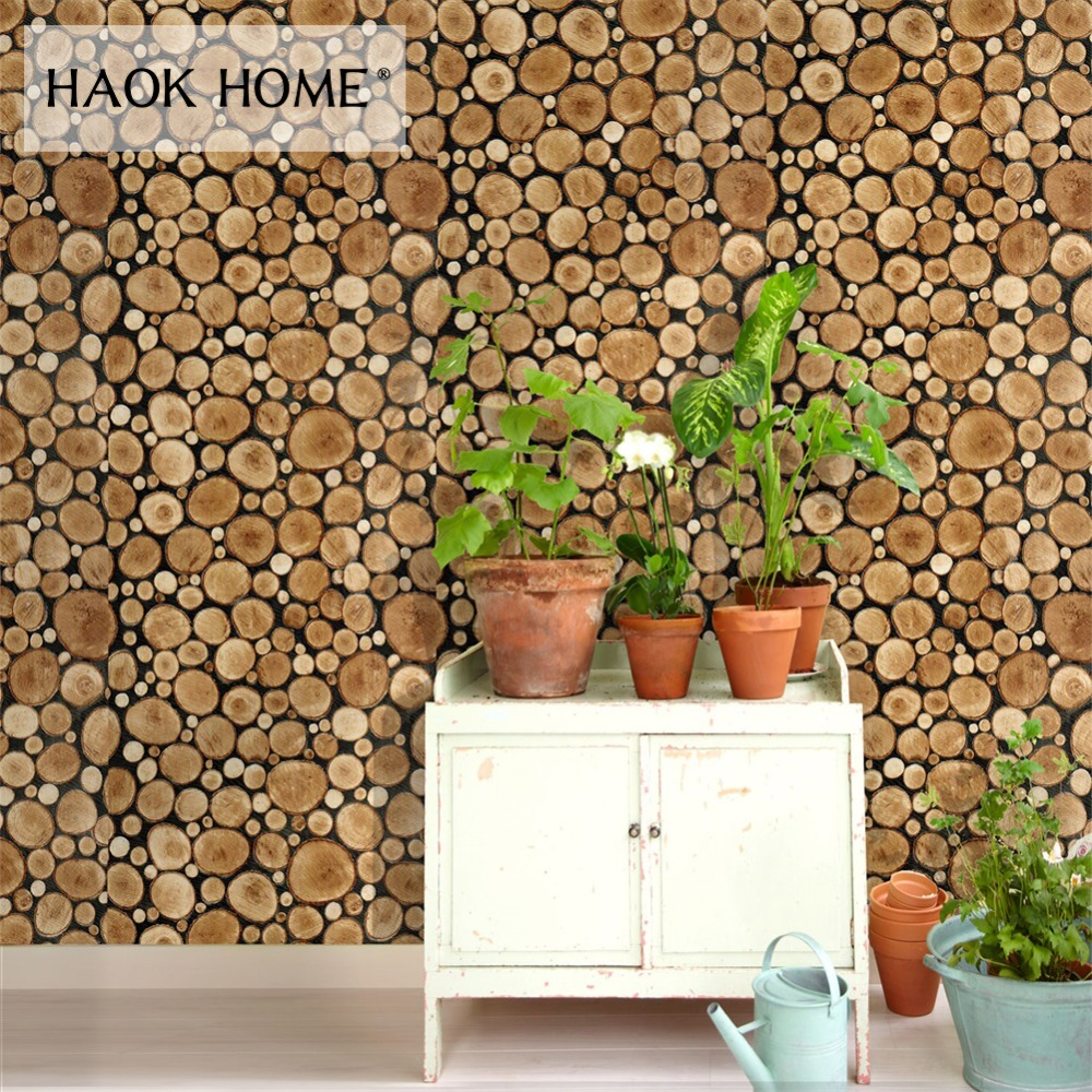 HaokHome 3d Rustic Wood Grain Vinyl self adhesive Wallpaper Rolls Tan/Brown/black Living room study room wall papers home decor тональная основа catrice hd liquid coverage foundation 020 цвет 020 rose beige variant hex name f1c6a7
