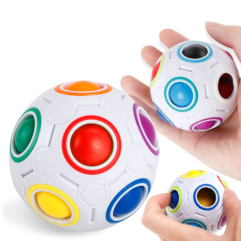 7CM Magic Rainbow Ball Football  Cube 2018 Stress Ball Hottest Decompression Finger Toys Children Adult Christmas Gifts