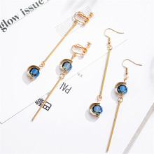 Korean INS Simple Crystal Geometric Cute Sweet Vintage Woman Girl Clip Earrings Fashion Jewelry-LAF