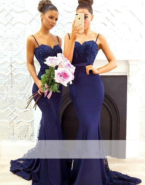 Blue 2019 Cheap   Bridesmaid     Dresses   Under 50 Mermaid Spaghetti Straps Lace Beaded Wedding Party   Dresses