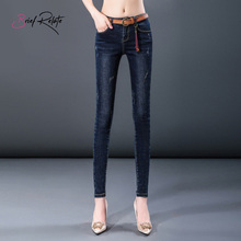 Brief Relate Jeans Woman Full-length Pants Mid-waist Comfortable Elastic All-match Zipper Waist Adjustment Skinny Cut