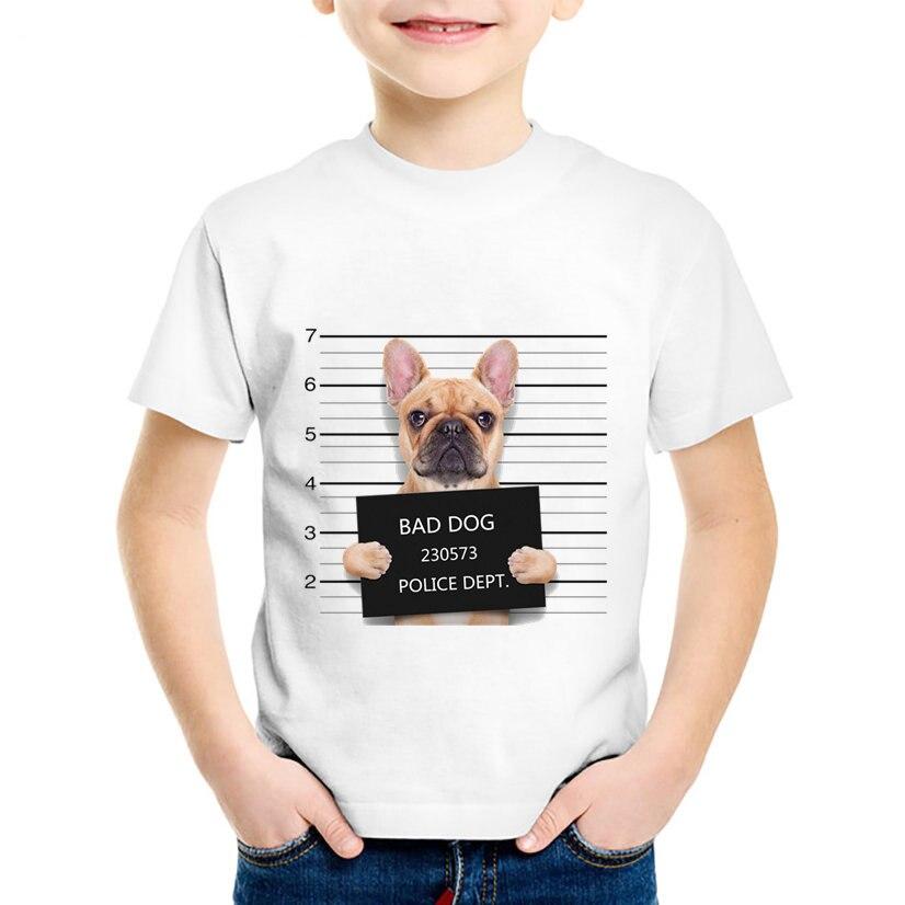 DemüTigen Hund Polizei Dept Gedruckt Kinder Lustige T-shirts Kinder Schlechte Hund Mops/bulldog Sommer Tees Jungen/mädchen Casual Tops Baby Kleidung, Ooo2017