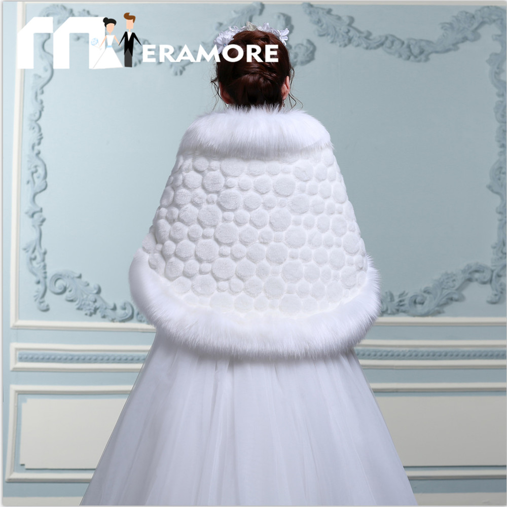 Plus Size Warm Wedding Bridal Jackets with Dot Pattern Fur Coat ...
